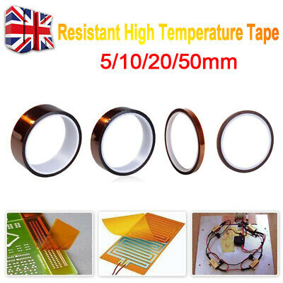 1/2Pcs 5/10/20/50mm100ft Heat Resistant High Temperature Polyimide Kapton Tape