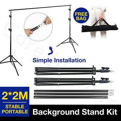 2x2m Backdrop Support Stand Kit Heavy Duty Crossbar Screen Photography Studio
