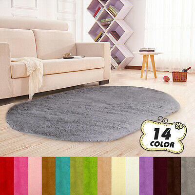 Oval Anti-Skid Shaggy Area Rug Fluffy Rugs Dining Room Carpet Floor Mat Bedroom