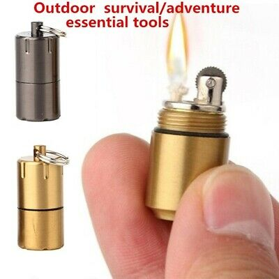 Portable Mini Outdoor Survival Tools Kerosene Lighter Key Chain Waterproof Tools