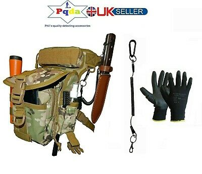 Metal Detecting Finds Bag/Pouch,Fits Waist & Leg,Probe Holder + Gloves. CP Camo.