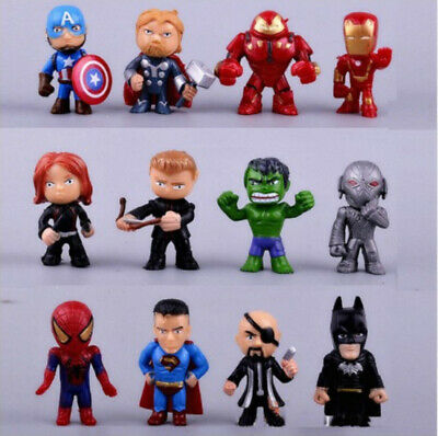 12pc/Set Marvel Avengers DC Comics Figures Cake Toppers Hulk Kids Toy Gift 2019