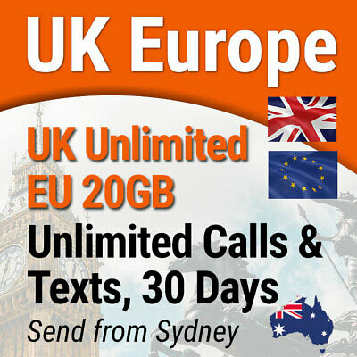 Europe UK Travel Prepaid SIM Card, Unlimited Data, Calls & SMS, 30 days