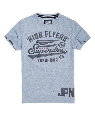New Mens Superdry High Flyers Reworked T-Shirt Glacier Blue Snowy