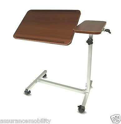 Height Adjustable Over Bed Over Chair Reading Activity Table Twin Top 4 Wheels