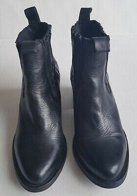 b65fc55a23678 All Saints Bonny Valley Black Leather Booties Ankle Boots Women Size 38 7.5