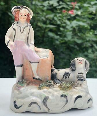 Miniature English Staffordshire Figure of Boy with Spaniel Dog and Kennel 19 Cen