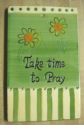 "Colorful Ceramic ""Take Time To Pray"" Plaque"