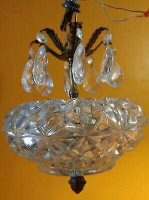 Antique Vintage Small Hallway Cut Glass Chandelier with Crystal prisms. 2 lights