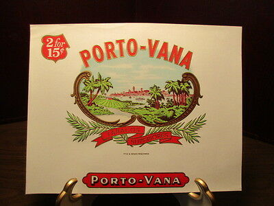 Vintage EMBOSSED Cigar Label - PORTO-VANA - TABACOS SUPERIORES