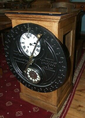 Large oak Iron early 20th C industrial CLOCKING-IN CLOCK Dey Time Register 1900