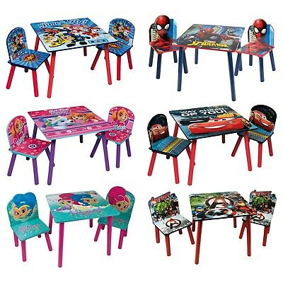 Themed Table & Chairs Set Wooden Kids Activity Nursery Playroom Furniture Play