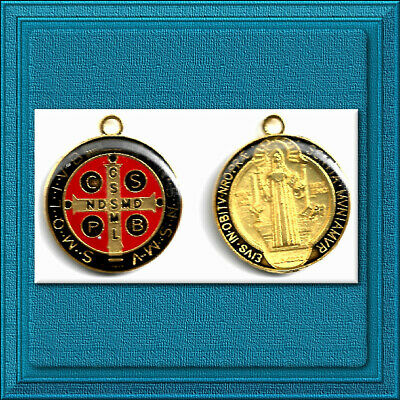 "🕊 Catholic Medal 🕊 St. Saint Benedict Patron Of Protection 1"" Black Red Gold"