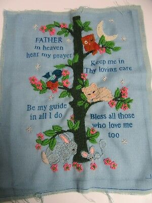 Finished Crewel Embroidery Father in Heaven Hear My Prayer Completed 11x15