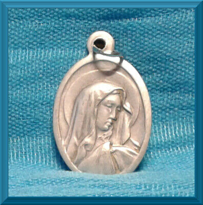 "✝️ Catholic 1"" Medal Italy Silver Oxidized ✝️ Blessed Mother Mary Sorrowful NEW"