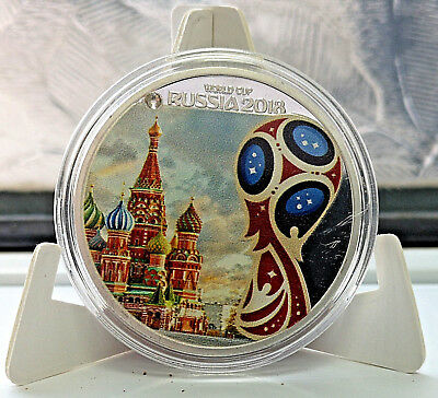 World Cup Russia 2018 Silver Coin Kremlin Moscow Gem Stone Red White Blue Flag