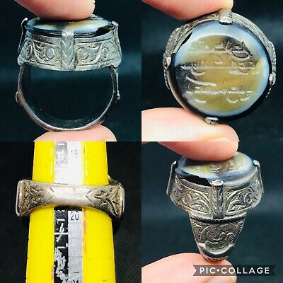 unique excellent seljig empire holy Sufi scripted our silver agate stone ring