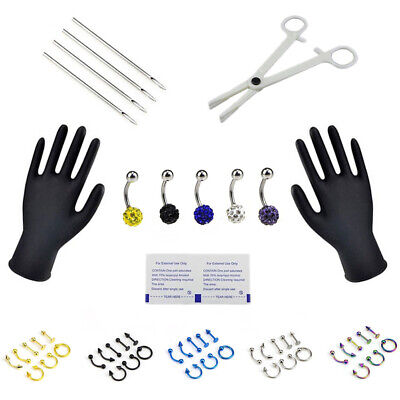 Body Piercing Kit 16G and 14G Jewelry Tongue Tragus Ear Eyebrow Nipple Lip Nose^