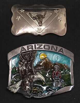 Vintage American belt buckles - Siskiyou gold panning with eagle & Chambers bull
