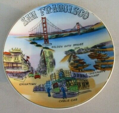 "San Francisco G W Souvenir Plate Hand Painted 6"" Golden Gate Bridge, Chinatown"