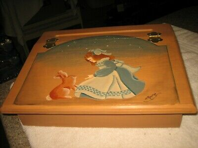 Brand New Hand-Painted Little Girl And Bunny Rabbit Slope Top Wooden Lap Desk