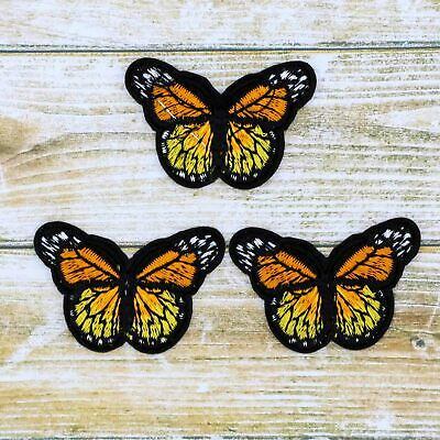 Bulk 3/12P Embroidered Orange Small iron on Patches Monarch butterfly Appliques