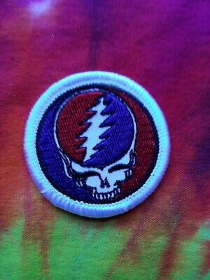Grateful Dead Steal Your Face SYF White Border 1.75 Inch Iron On Patch
