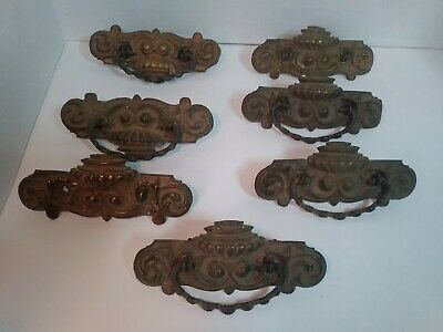Lot 7  Vtg Antique Brass Metal Drawer Pulls