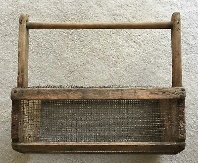 Old Primitive Farm Antique wood/metal wire basket.