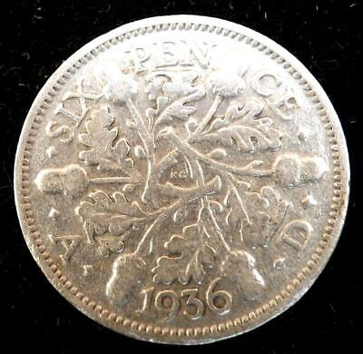 1936 George V Silver Sixpence 6d Coin.