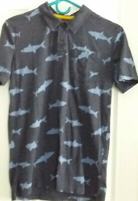 Old Navy Boys Blue Polo shirt with sharks Size 18 XXL