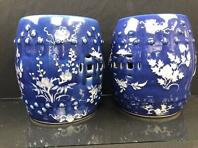 Antique Pair Of Chinese Blue Garden Seats With White Flowers 19th Century
