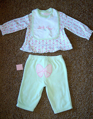 """NWT Girl's First Impressions Green """"Little Angel"""" 3 pc Velour Set 3-6 Months"""
