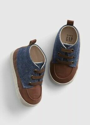 Gap Baby Boy Toddler Chambray Dress Sneakers Shoes Size 12-18 Months NWT