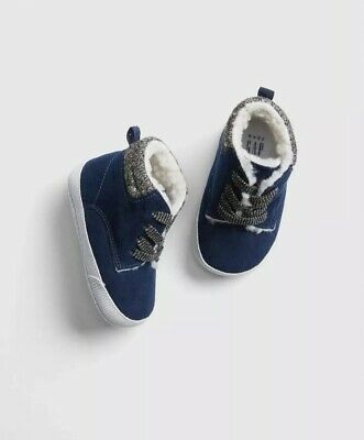 Gap Baby Boy Toddler Sherpa Lined Sneakers Shoes Navy Blue Size 6-12 Months NWT