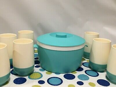 7 Vintage Bopp-Decker Vacron White and Teal Turquoise Cups w/ Bolero Ice Bucket