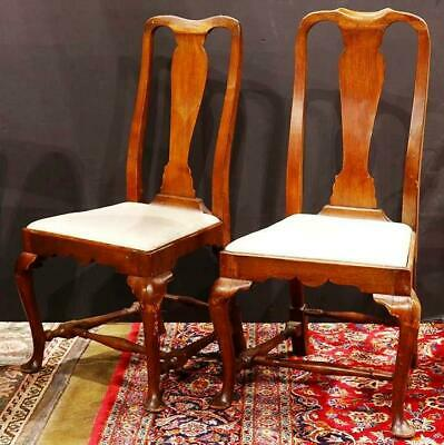 Pair of Antique 18th century Queen Anne Massachusetts Side Chairs c.1750