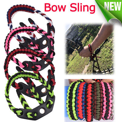 Braided Archery Paracord Bow Wrist Sling Strap Leather Pad Sling f// Compound Bow