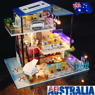 DIY LED Dollhouse Wooden Doll House Miniature w/ Furnitures Light Music Gift AU
