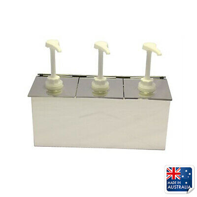 Stainless Steel 3 Pump Syrup Dispenser 175x382x145mm ASI Toppings Sauces Ease