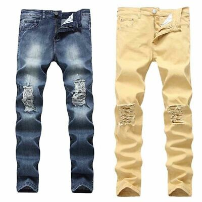 Mens Denim Trousers Pants Stretch Skinny Destroy Retro Ripped Jeans Hole Jeans