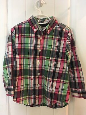 Gymboree Button Down 4T Boy 4 Toddler Shirt Plaid Pink Green Check Spring Easter