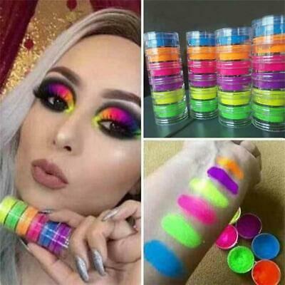 6 Colors/set Neon Powder Eyeshadow Pigment Matte Mineral Spangle Nail Powder~