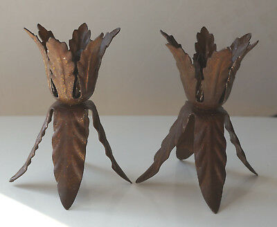 Antique Holly Leaf Design Taper Candle Holder Pair Iron