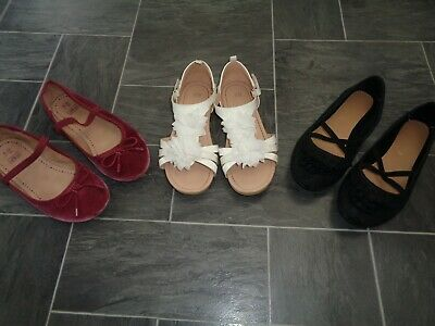 girls shoe bundle- size 3- 3 x pairs-cream sandles+2 pairs ballerina style shoes