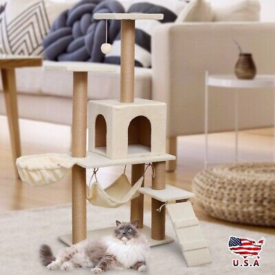 Cat Tree Condo House Pet Kitten Tower Scratcher Post Furniture Play Toy New USD