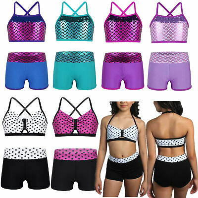 2PCS Girls Tankini Outfit Sleeveless Sequins Ballet Dance Suit Set Show Costumes