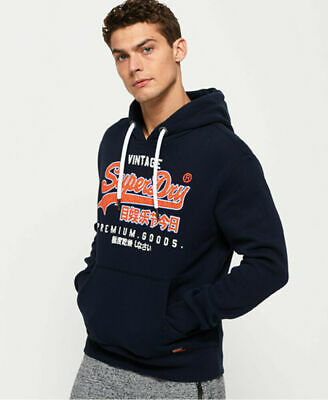 New Mens Superdry Premium Goods Outline Hoodie Academy Navy