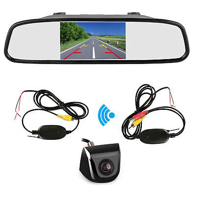 "Wireless 4.3"" Car LCD Mirror Reverse Monitor+HD Rear View Backup Parking Camera"
