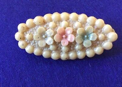 VIntage 1930's Authentic signed Rare Gloss Celluloid Flower Bunch Brooch Pin